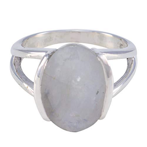 joyas plata gemas genuinas forma ovalada una piedra anillos de piedra de luna arcoíris facetados - anillo de piedra de luna arcoíris blanco de plata 925 - cáncer de nacimiento de julio