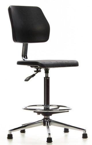 hjh OFFICE 665030 Sgabello da lavoro TOP WORK 02 nero, senza braccioli, con schienale, robusto, con poggiapiedi, regolabile in altezza, sedia da lavoro, base cromata, ergonomica, facile da pulire, con piedini