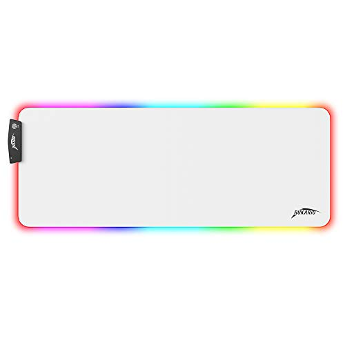 Rukario White RGB Gaming Mouse Pad | Waterproof | NonSlip Rubber Base | 15 Lighting Modes | Extra Large Mousepad 315 x 118 inches | XL XXL Computer Desk Mat | Soft Glowing LED Extended Mousepads