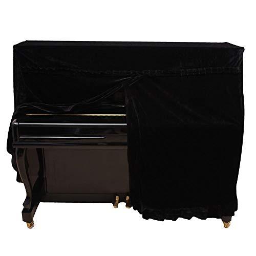 Tbest Cubierta de Piano Completa, 5 Colores de Moda Pleuche Cubierta de Piano Vertical Cubierta de Polvo de Piano Instrumentos Decoración de Accesorios(Negro)