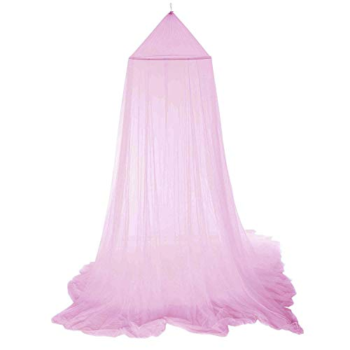 Mosquito Net for Bed, Bed Canopy Curtains Princess Mosquito Net Lace Dome Bed Canopy for Children Fly Insect Protection Indoor Outdoor Decorative Height 250cm/98.4in Pink