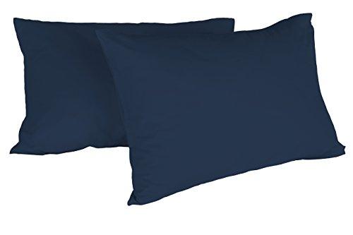 Italian Bed Linen Max Color Coppia di Federe Tinta Unita, 100% Cotone, Blu Scuro, 52 x 82 cm