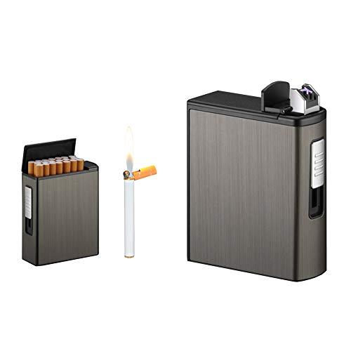 Zigarettenetui Kasten mit USB-elektrischem Feuerzeug (Schwarz)