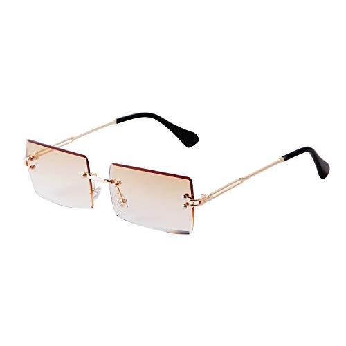 ADE WU Rechteck Randlose Sonnenbrille Ultra-Small Ovale Frame Sonnenbrille Retro Durchsichtige Linse für Frauen Männer
