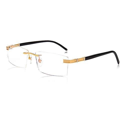 D&XQX Frameloze leesbril Smart Zoom Ver en In de buurt van Dual-use Multi-focus Pure Titanium Business Bril Blauw Licht Blokkerende Lezers met Bril Doek lanyard en Draagbare Vergrootglas