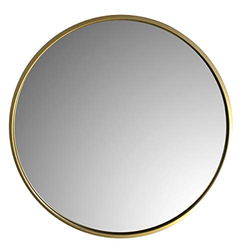 LOFTIKA 60cm Gold Modern Runder Wandspiegel für Badezimmer, Eingangsbereich, Schlafzimmer, Wohnzimmer und mehr