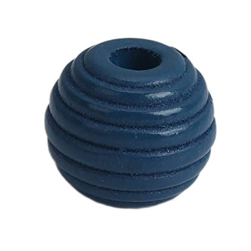 SiAura Material - 50 perline di legno blu zaffiro 11 mm x 12 mm con foro da 3,4 mm, ovali con scanalature, per fai da te, per colorare e colorare