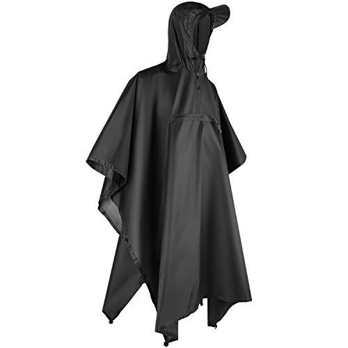 Andake Regenponcho, Herren Damen Unisex Regenjacke, Wasserdicht Winddicht knitterfrei wiederverwendbar Regenmantel für Camping, Wandern, Draussen und Täglicher Gebrauch - Schwarz, S
