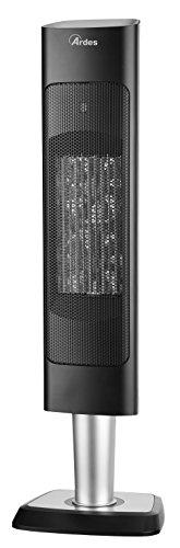Ardes AR4P15 Masai 2 Termoventilatore Ceramico PTC Oscillante a Torre, 2 Potenze con Display Digitale e Telecomando, 2000 W, Nero
