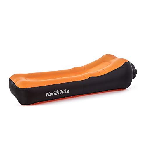 Naturehike Ergonomic Design Air Sofa Anti-Air Leaking Waterproof Inflatable Beach Lounger Double Layer Beach Camping Air Bed (Orange)