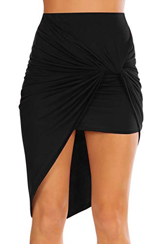 Simlu Womens Drape Up Stretchy Asymmetrical High Low Short Mini Bodycon Pencil Skirt, Black, Small