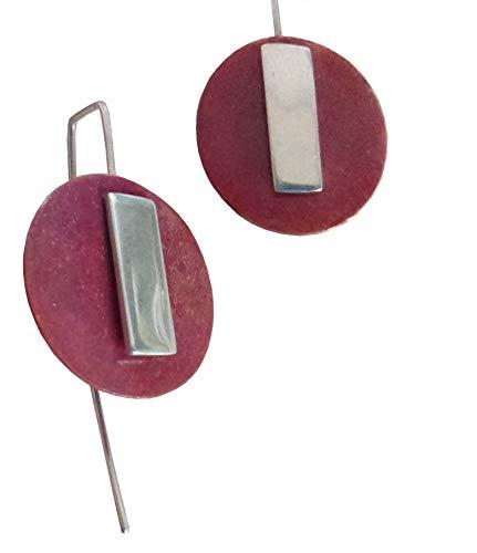 COBRE Y PLATA I: Pendientes circulares de plata y cobre hechos a mano