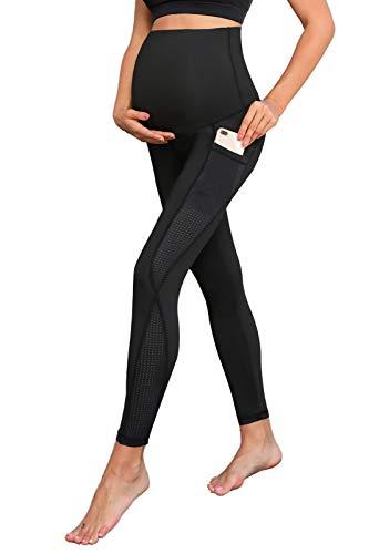 Maacie Pantalones de Malla Transparente con Cintura Elástica para Premamá S Negro