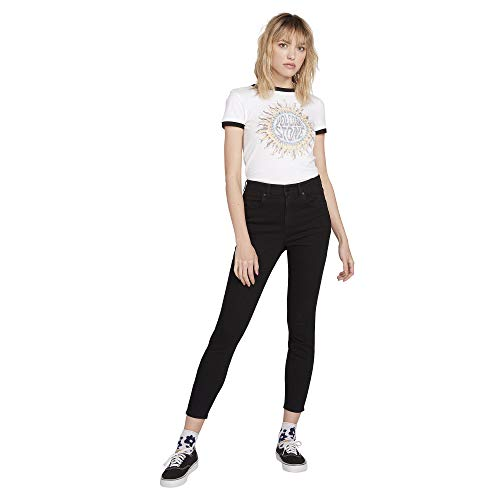 Volcom Damen Women's Liberator High Rise Legging Fit Denim Jean Hose, Premium Wash Black, 25W x 30L