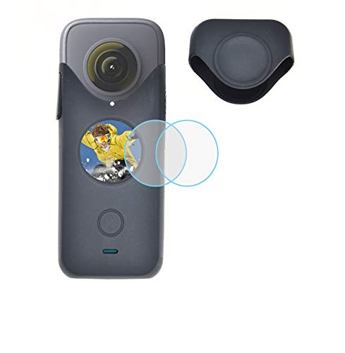 VGSION Silicone Case with Lens Cap and Tempered Glass Screen Protector Kit for Insta360 One X2