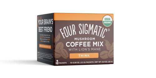 Four Sigmatic Foods Mushroom Instant Coffee, Organic and Fair Trade with Lions Mane, Chaga, & Mushroom Powder, Focus & Immune Support, Paleo, 0.9 Oz, 10 Count