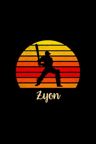 Zyon Name Gift Personalized Cricket Notebook Planner, Daily Journal for Sport Lovers: Budget Tracker, Teacher, Mom, Daily, Cute, 5.24 x 22.86 cm, 6x9 inch, Budget, Over 110 Pages, A5
