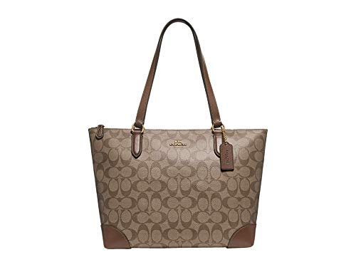 COACH Signature PVC Zip Tote Khaki/Saddle 2 One Size