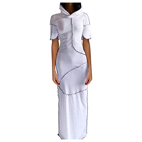 NHNKB Disfraz de Halloween para mujer, vestido steampunk, con capucha, estilo gótico, ajustado, vestido largo, color blanco, talla L