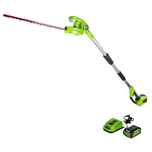 Greenworks 22-Inch 40V Cordless Pole Hedge Trimmer, 2.0 AH Battery Included PH40B210 (Renewed)