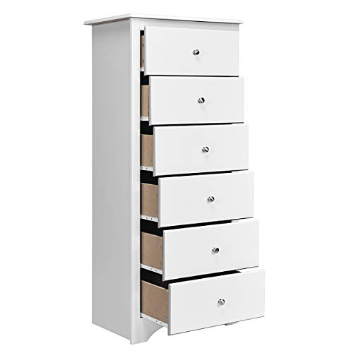 Giantex 6 Drawer Chest Wooden Dresser Clothes Organizer Bedroom, Hallway, Entryway Furniture Tall Storage Cabinet (White)