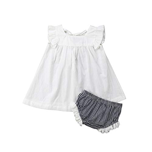 Newborn Baby Girl Summer Dress Tops+Tutu Pants 2PCS Outfits Clothes Sunsuit Set 0-24M (0-6 Months, White)