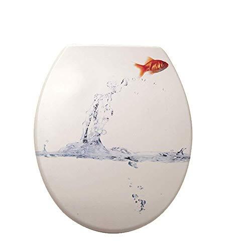 Hyzb Tapa De Inodoro con Impresión En Forma De U/V/O para Inodoro Tapa De Asiento De Inodoro Fija Superior para Desaceleración para La Familia (Color : White, Size : 45 * 38cm)