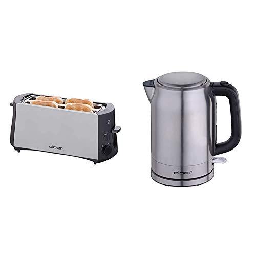 Cloer 3710 Langschlitztoaster für 4 Toastscheiben / 1380 W / integrierter Brötchenaufsatz / Nachhebevorrichtung / Krümelschublade & 4529 Wasserkocher Edelstahl, 2200 W, 1,7 Liter, 1.7 liters