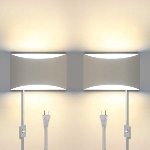 Aluminum Modern LED Wall Sconces Set of 2, 15 W 3000K Warm White Up and Down Lighting Fixture Lamps for Stairway, Bedroom, Hallway, Basement, Cafes, Wall-Mounted or Plug in (4 G9 Bulbs Included)