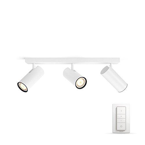 Philips Hue LED 3-er Buratto Spot inkl. Dimmschalter, dimmbar, alle Weißschattierungen, steuerbar via App, weiß, kompatibel mit Amazon Alexa (Echo, Echo Dot)