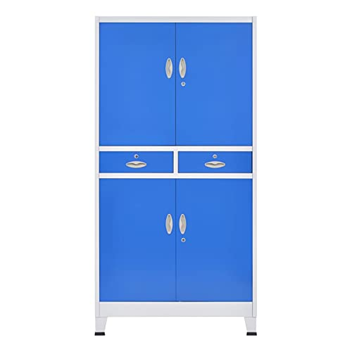 Office File Cabinet Locker Locking Large Storage Office Cabinet Metal Cabinets Home School with 4 Doors Metal 35.4'x15.7'x70.9' Gray and Blue by paritariny