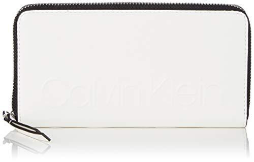 Calvin Klein Edged Large Ziparound S - Portafogli Donna, Bianco (Bright White), 10x2.5x19 cm (B x H T)