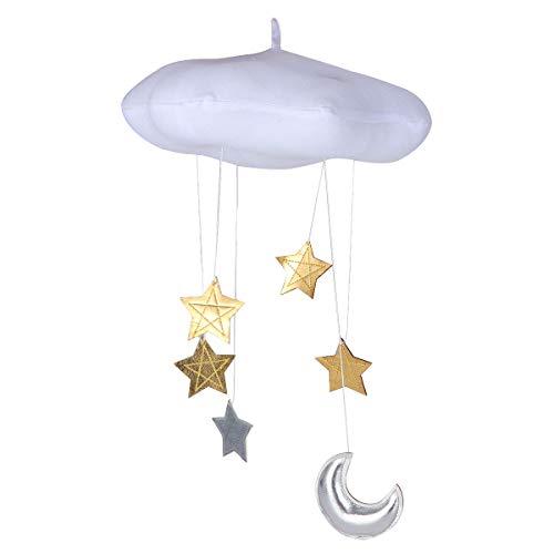 VOSAREA Baby Decken Mobile Kinderzimmer hängen Hängende Wolken Sterne Mond Dekorationen Plüsch Wolke Fotografie Requisiten für Baby Dusche (Weiß)
