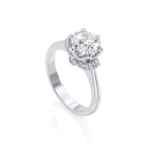 Celtic Dimond Engagement Solitaire Ring, 1 ct Round Lab Diamond, 100% Natural Diamonds Pave, Solid White Gold, 6-Prong Crown, Handcrafted by KEYZAR