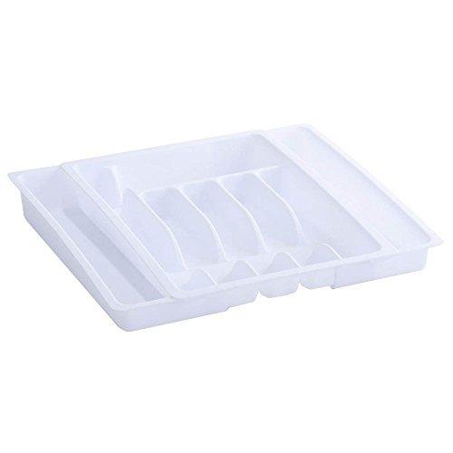 Zeller 24891 Besteckkasten, ausziehbar, Kunststoff, weiß, ca. 29-48 x 38 x 6,5 cm