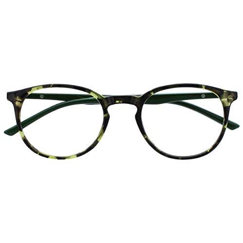 Opulize Met Verde Carey Gafas De Lectura Grande Redondo Cómodo Hombres Mujeres Bisagras Resorte R60-6 +1,00