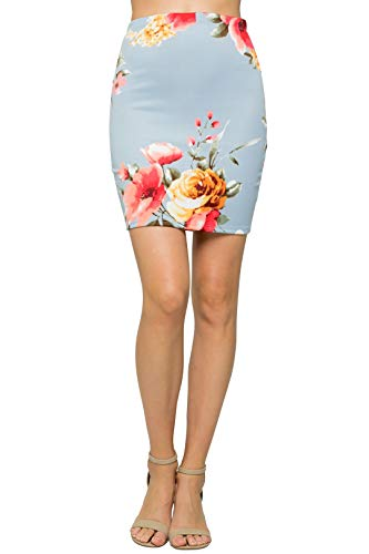 HerShe Women's Comfort Stretch Pencil Mini Skirt (M, 20646TEBX-AQUA)