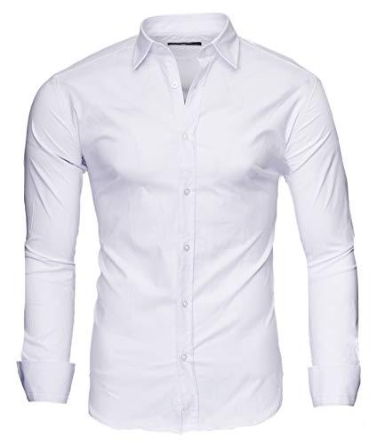 Kayhan Herren Hemd, TwoFace als Uni Weiß S