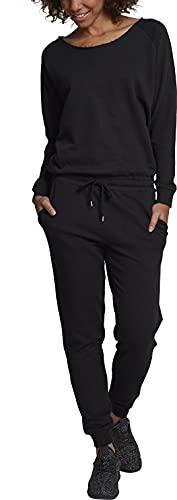 Urban Classics Ladies Long Sleeve Terry Jumpsuit Monopezzo, Nero (Black 00007), S Donna