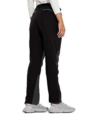 BALEAF Women's Winter Soft Shell Pants Fleece Lined Cargo Waterproof Zip Pockets Windproof Snow Hiking Black M