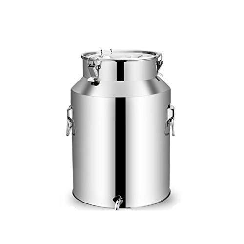 HWhome 18L Conteneur De Stockage des Aliments Scellé,201 Scellé en Acier Inoxydable Seau,Alliage D'Aluminium Seau/Pot du Lait/Bidon à Vin/Cuve De Fermentation(19.5cm x 40cm x 25cm)