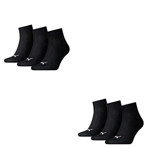 6 Paar Puma Quarter Socken, Kurz-Socken, Sportsocken,(mt) (43 / 46 - 6 Paar, schwarz)