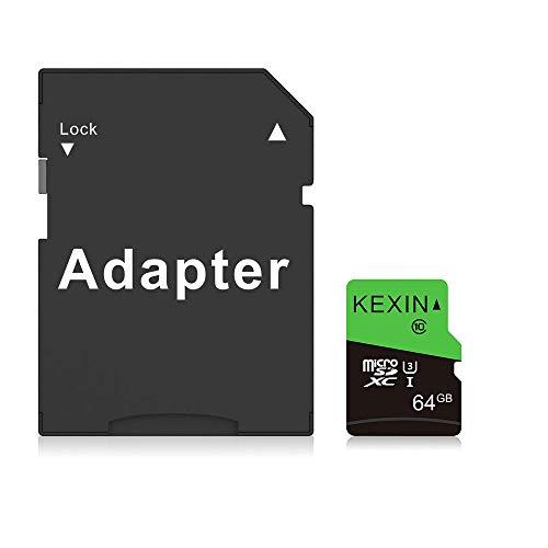 KEXIN 64Go Carte Micro SD de Haute Vitesse Jusqu'à 85Mo/s, Carte Mémoire MicroSDXC 64 Go UHS-I U3 Classe 10 pour Caméra d'action, Système de Surveillance, Smartphones, Drone, Dash Cam, Tablette, etc.