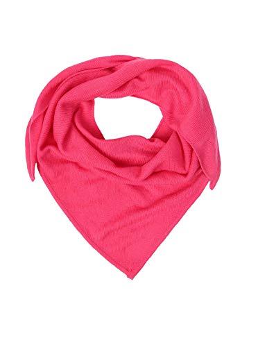 Zwillingsherz Dreieckstuch aus 100% Kaschmir - Hochwertiger Schal im Uni Design für Baby-s Jungen und Mädchen - Cashmere XXL Hals-Tuch und Damenschal - Strick-Waren für Sommer und Winter pink