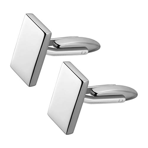 Tinksky, gemelli da uomo classici in argento – gemelli per polsini della camicia, da uomo, di forma rettangolare, bottoni