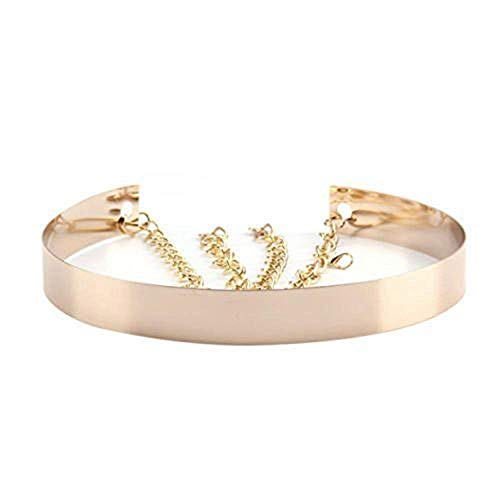 Live It Style It dames metalen riem volledige taille spiegel breed goud zilveren band ketting riem