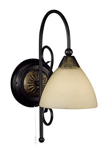 Honsel Leuchten 31351 - Lámpara de pared, cristal antiguo color alabastro, metal color marrón rojizo