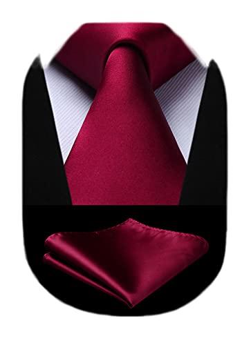 HISDERN Fazzoletto da cravatta bordeaux tinta unita Fazzoletto da taschino classico da matrimonio da uomo