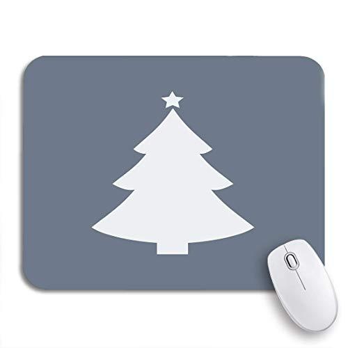 Gaming Mouse Pad Silhouette Weihnachtsbaum Flache weiße Stern Weihnachten Symbol moderne rutschfeste Gummi Backing Computer Mousepad für Notebooks Maus Matten