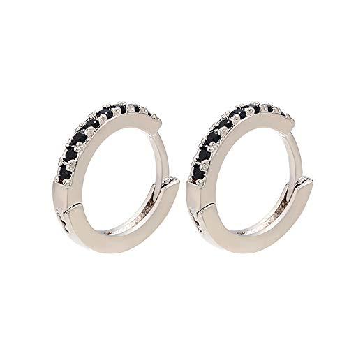 HoopsEarringsForWomen,Silver Simplicity Black Zircon Round Hoop Pierced Earrings Hypoallergenic Lightweight Hoop Ring Circle Jewelry Earrings For Women Girls Party Wedding